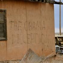 Deception written on a building