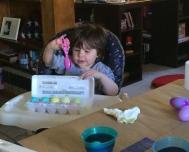Christian baptized some eggs.