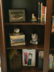 I luv the Gilmore Girls so that sets on the bottom shelf, with a cool bird house