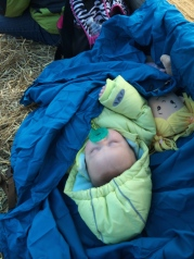 So we had to bring alone my baby sister. Here she is sleeping on the hayride. She is borrrrring! I don't think she know how to have fun yet, so I am trying to teach her.